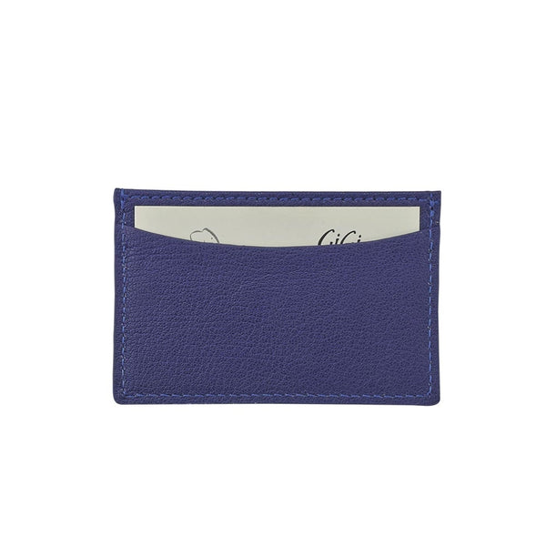 Graphic Image Slim Design Card Case Goatskin Leather