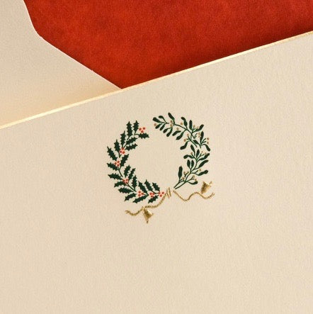 Holly & Mistletoe Wreath Notecards
