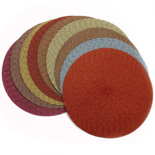 Deborah Rhodes Round Tweed Placemat, Brown/Terracotta
