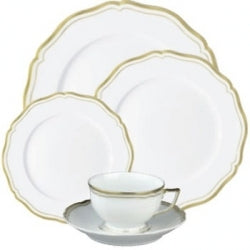 Raynaud Polka Gold 5 Piece Place Setting