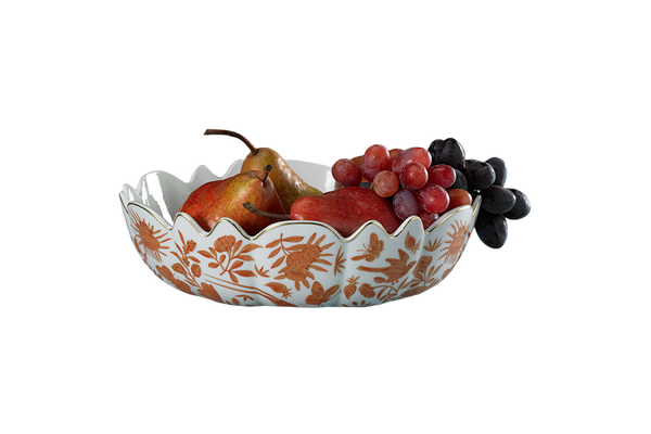 Sacred Bird & Butterfly Scalloped Bowl