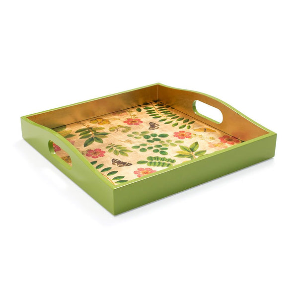 Coromandel Garden Lacquer Square Tray in Gold