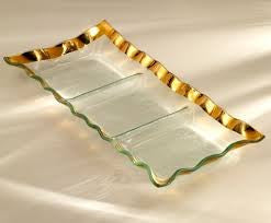 Annie Glass Ruffle Three-Section Tray