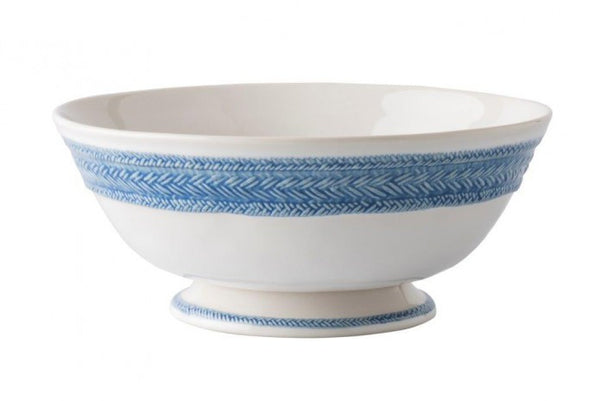 "Le Panier White/Delft Blue 11"" Footed Fruit Bowl"