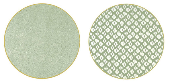 "Two Sided Ikat and Dot Fan 15 "" Round Hardwood Placemat"
