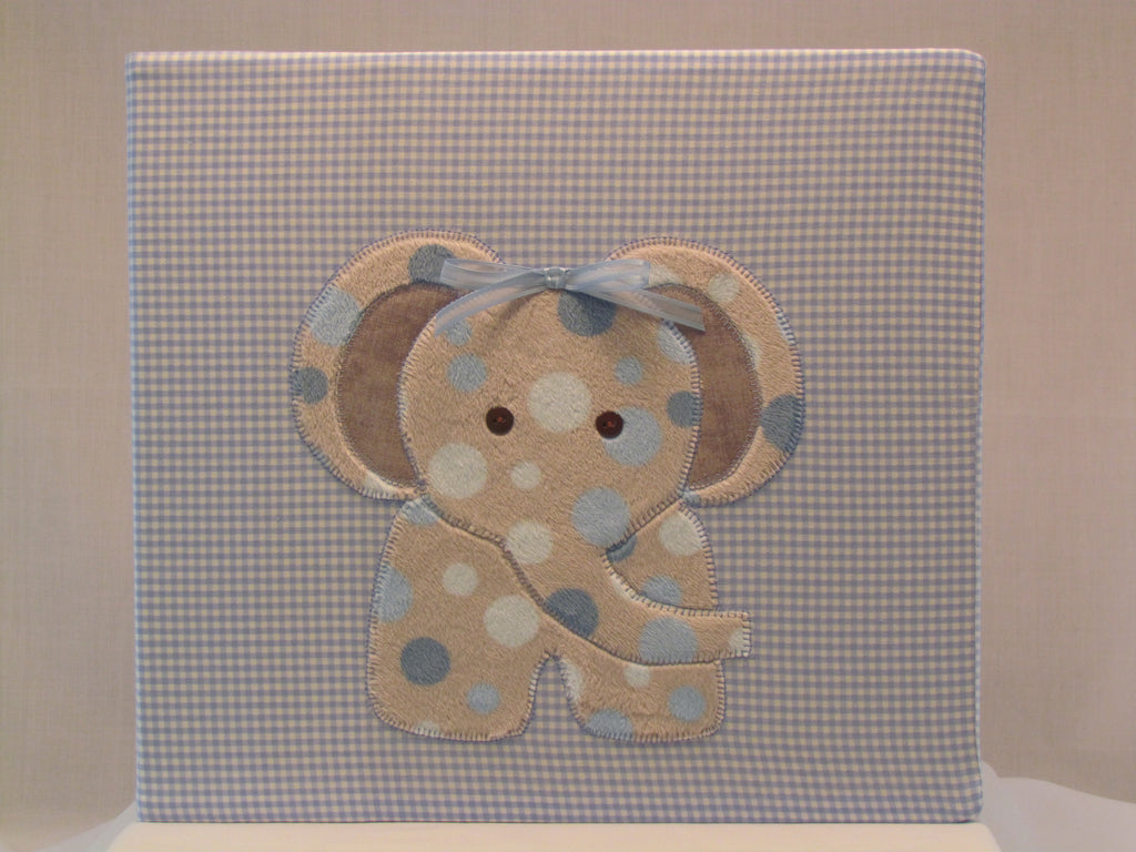 12x12 postbound fabric scrapbook album baby boy elephant applique