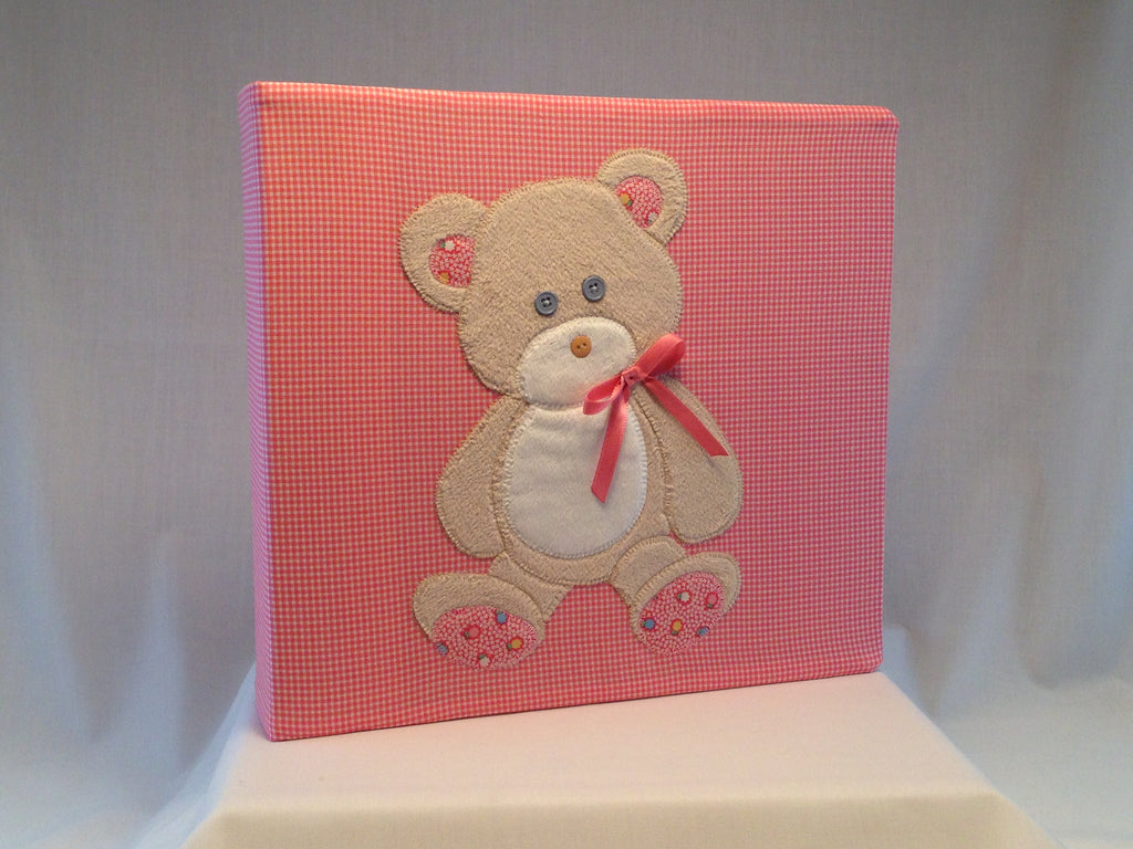 12x12 Postbound Fabric Scrapbook Album Baby Boy Teddy Bear Applique