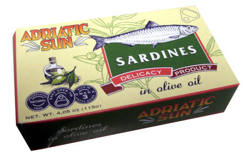 Sardines in Olive Oil (Adriatic Sun) 4.05 oz (115g) - Parthenon Foods