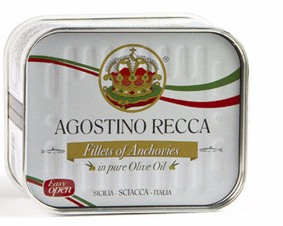 Flat Fillets of Anchovies in Pure Olive Oil (AgostinoRecca) 25 oz (710g) - Parthenon Foods