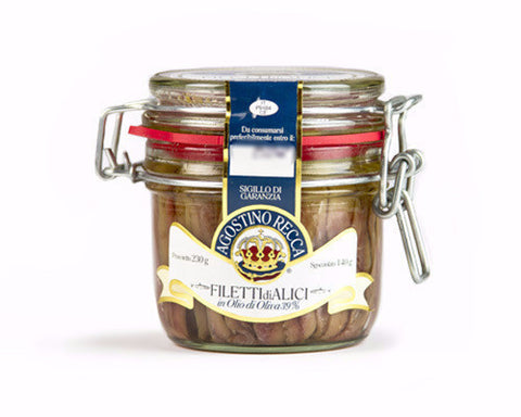 Anchovy Fillets in Olive Oil (mason jar) 230g(8.1oz) - Parthenon Foods