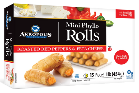 Akropolis Red Pepper and Feta Cheese Rolls 1 lb (454g) - Parthenon Foods