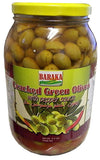 Cracked Green Olives with Pepper Sauce, MILD (Baraka) 4.4 lbs Jar - Parthenon Foods