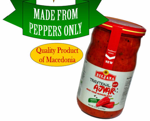 Traditional Ajvar made from Peppers Only, HOT (Biljana) 670g - Parthenon Foods