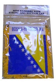 Bosnian-Herzegovian Flag with String and Suction Cap, 4x6 in. - Parthenon Foods