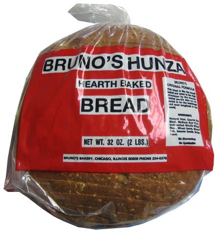 Brunos Hunza Hearth Baked Bread, Sliced, 32oz (2lb) - Parthenon Foods