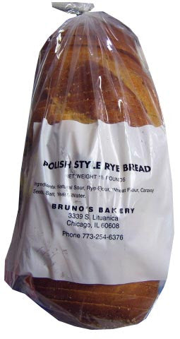Brunos Polish Style Rye Bread, Sliced, 1.5lb - Parthenon Foods