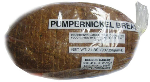Brunos Pumpernickel Bread, Sliced, 2lbs - Parthenon Foods