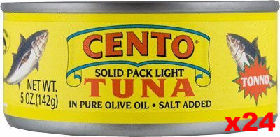 Cento Tuna in Pure Olive Oil, CASE (24 x 5 oz) - Parthenon Foods