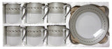 Coffee Cups and Saucers, Small, 12pc, Silver Rope (UPC 249511) - Parthenon Foods