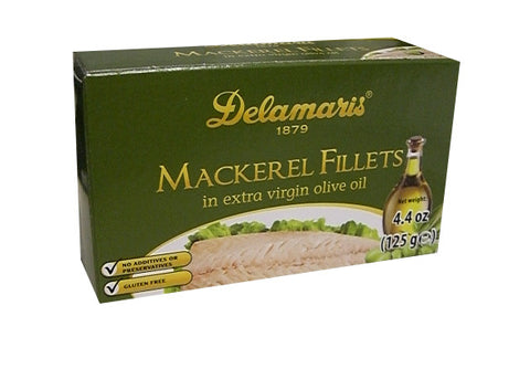 Mackerel Fillets in Extra Virgin Olive Oil, (Delamaris) 125g (4.4oz) - Parthenon Foods