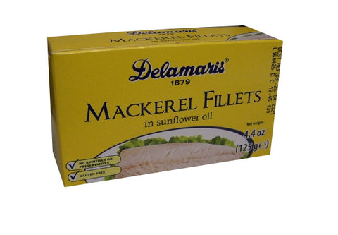 Mackerel Fillets in Sunflower Oil, (Delamaris) 125g (4.4oz) - Parthenon Foods