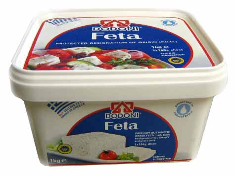 Greek Feta Cheese Dodoni, 1kg (2.2lb) Plastic - Parthenon Foods