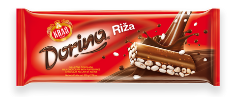 Dorina Riza, Milk Chocolate with Puffed Rice, 220g - Parthenon Foods