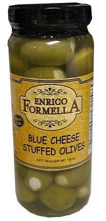 Blue Cheese Stuffed Olives, 500ml (16oz), Enrico Formella - Parthenon Foods