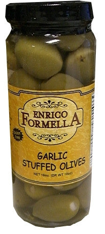 Garlic Stuffed Olives, 500ml (16oz), Enrico Formella - Parthenon Foods