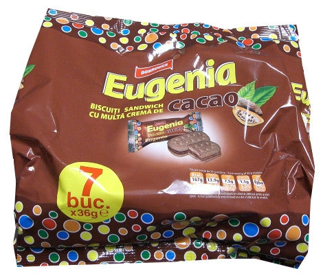Eugenia Cacao Biscuit with Cacao 252g (7x36g)-brown bag - Parthenon Foods