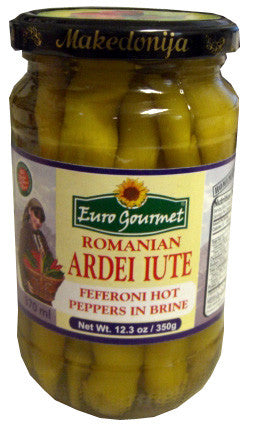 Romanian Feferoni Hot Peppers, EuroGourmet, 12.3 oz (350g) - Parthenon Foods