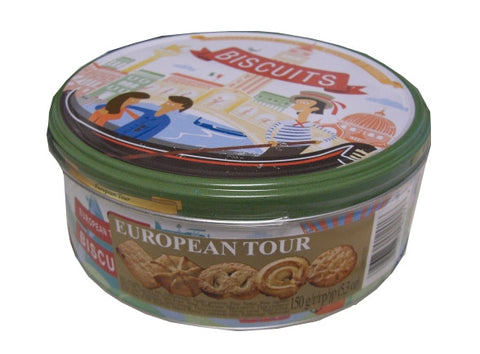 Butter Cookies, European Tour Biscuits (Jacobsens) 5.3 oz (150g) Tin - Parthenon Foods