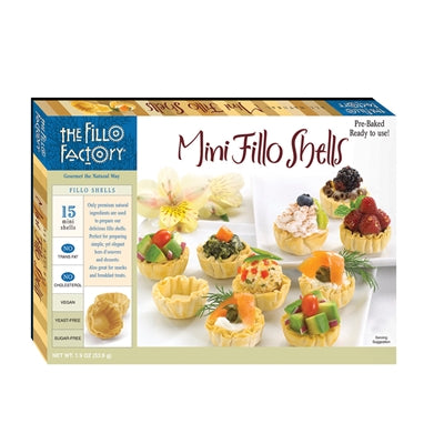 Mini Fillo Pastry Shells (Fillo Factory) 15 Baked Shells, 2.0 oz - Parthenon Foods