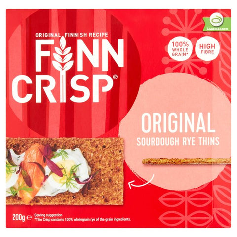 Finn Crisp, Sourdough Rye Thins, Original, 7 oz (200g) - Parthenon Foods
