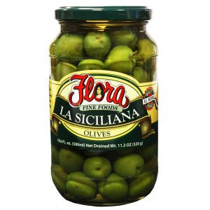 Siciliana Green Olives (Flora) 19.6 oz - Parthenon Foods