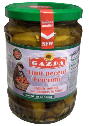 Roasted Hot Peppers in Brine (Gazda) 19 oz (540g) - Parthenon Foods