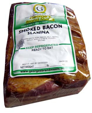 Smoked Bacon, Slanina (George's) approx. 0.7 lb - Parthenon Foods