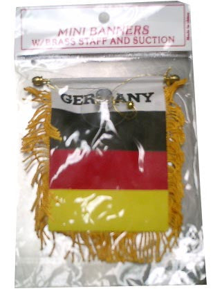 German Flag with String and Suction Cup, 4x5 in. - Parthenon Foods