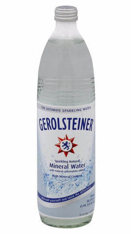Gerolsteiner Naturally Sparkling Mineral Water, 0.75L-GLASS 25.3 oz - Parthenon Foods