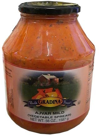 Ajvar HOT Vegetable Spread (Gradina) 56 oz (1587g)-not pictured - Parthenon Foods