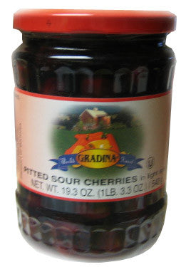 Pitted Sour Cherries in Light Syrup (Gradina) 24oz - Parthenon Foods