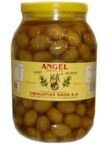 Green Olives, Cracked, Large (Angel) 2kg (4.4lb) - Parthenon Foods