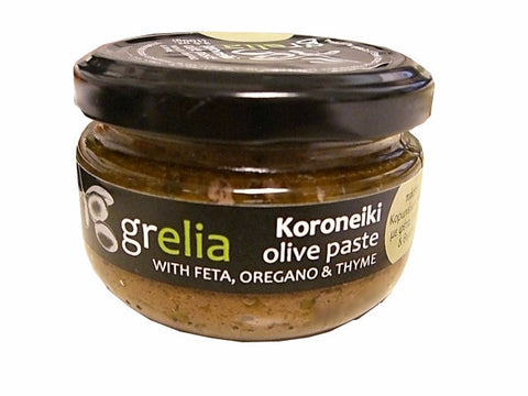 Koroneiki Olive Paste with Feta, Oregano and Thyme (Grelia) 3.5 oz (100g) - Parthenon Foods