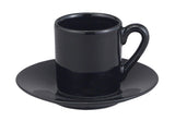 HIC Demi Cup and Saucer, Black, Set of 4 - Parthenon Foods