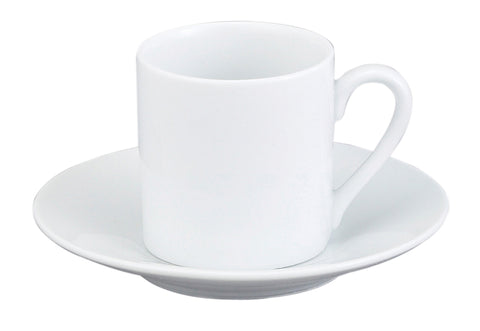 HIC Demi Cup and Saucer, White, Set of 4 - Parthenon Foods