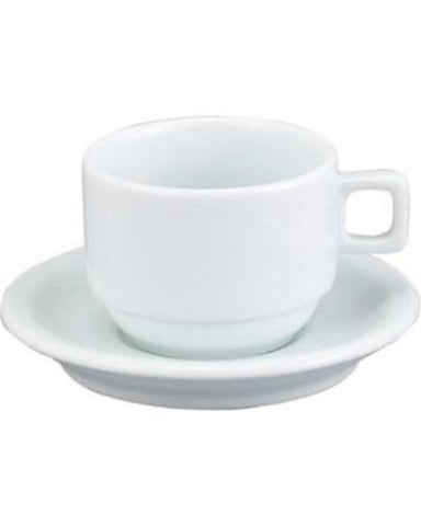 HIC Demi Cup and Saucer, White, Set of 6 - Parthenon Foods