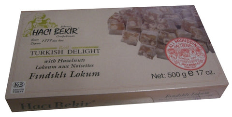 Turkish Delight with Hazelnuts (HaciBekir) 500g (17 oz) - Parthenon Foods