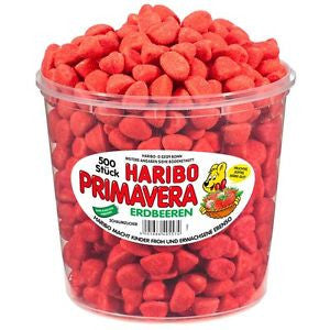 Haribo Primavera Erdbeeren (Strawberries) 500 st. Tub - Parthenon Foods