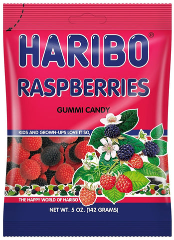 Haribo Raspberries Gummi Candy, 5oz (142g) - Parthenon Foods
