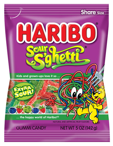 Haribo Sour S'Ghetti, 5 oz - Parthenon Foods
